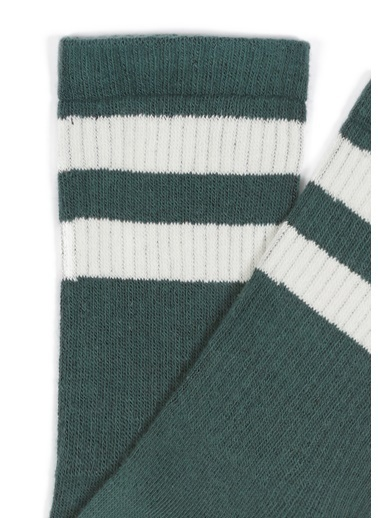 Mavi Bileği Çizgili Yeşil Çorap Yeşil
